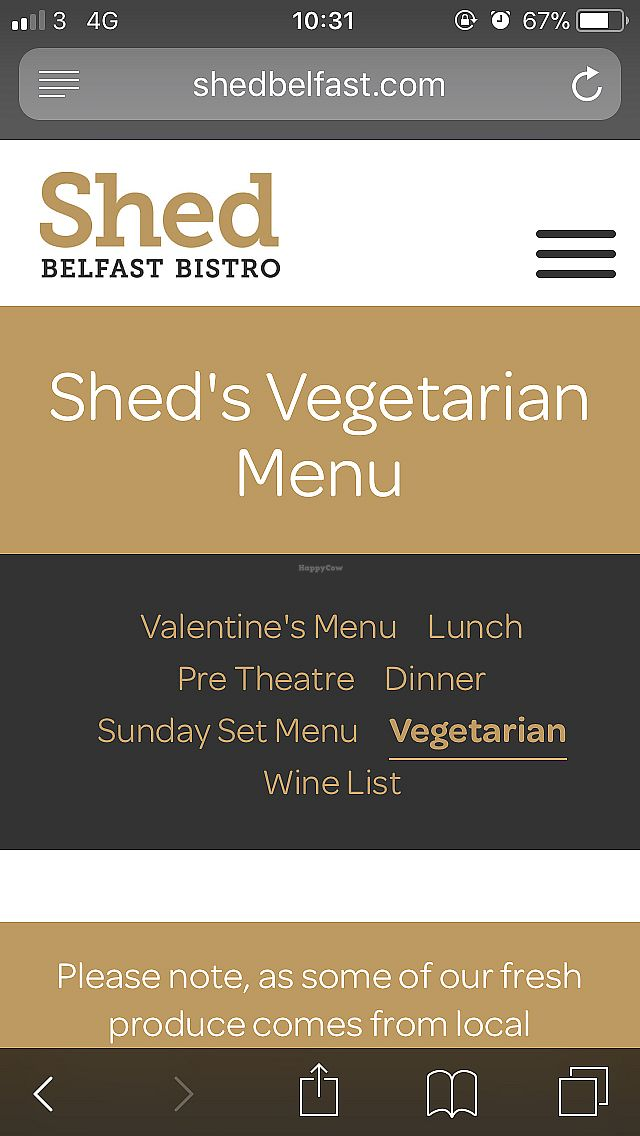 "Photo of Shed Bistro  by <a href=""/members/profile/CiaraSlevin"">CiaraSlevin</a> <br/>The online vegetarian menu (05/04/2018) which staff deny exists! <br/> April 5, 2018  - <a href='/contact/abuse/image/79093/381031'>Report</a>"