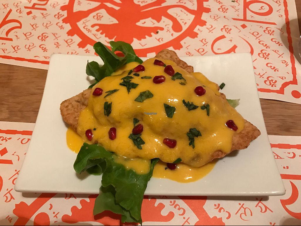 "Photo of Satsanga  by <a href=""/members/profile/Tanariel"">Tanariel</a> <br/>veg samosa with mango sauce (vegan) <br/> April 15, 2017  - <a href='/contact/abuse/image/79112/248385'>Report</a>"