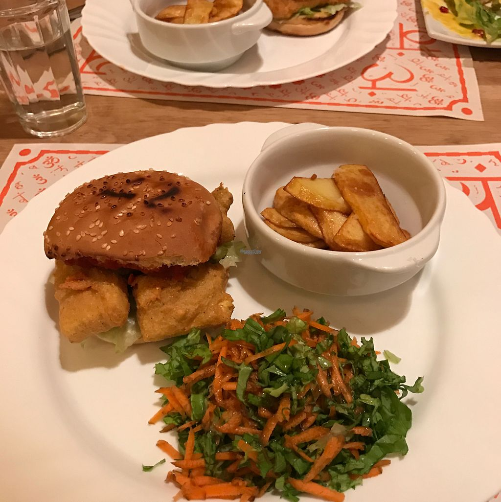 "Photo of Satsanga  by <a href=""/members/profile/Tanariel"">Tanariel</a> <br/>Burger with fried tofu (vegan) <br/> April 15, 2017  - <a href='/contact/abuse/image/79112/248386'>Report</a>"