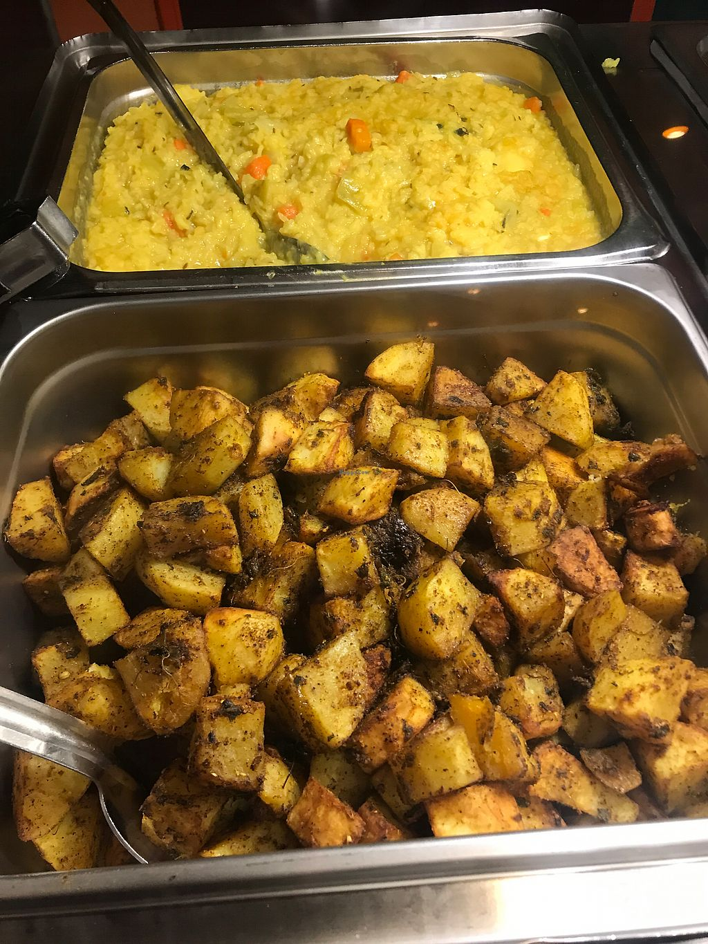 """Photo of Govinda's Vegetarian Lunch  by <a href=""""/members/profile/Birgit"""">Birgit</a> <br/>Kichari and potatoes <br/> December 18, 2017  - <a href='/contact/abuse/image/79125/337018'>Report</a>"""