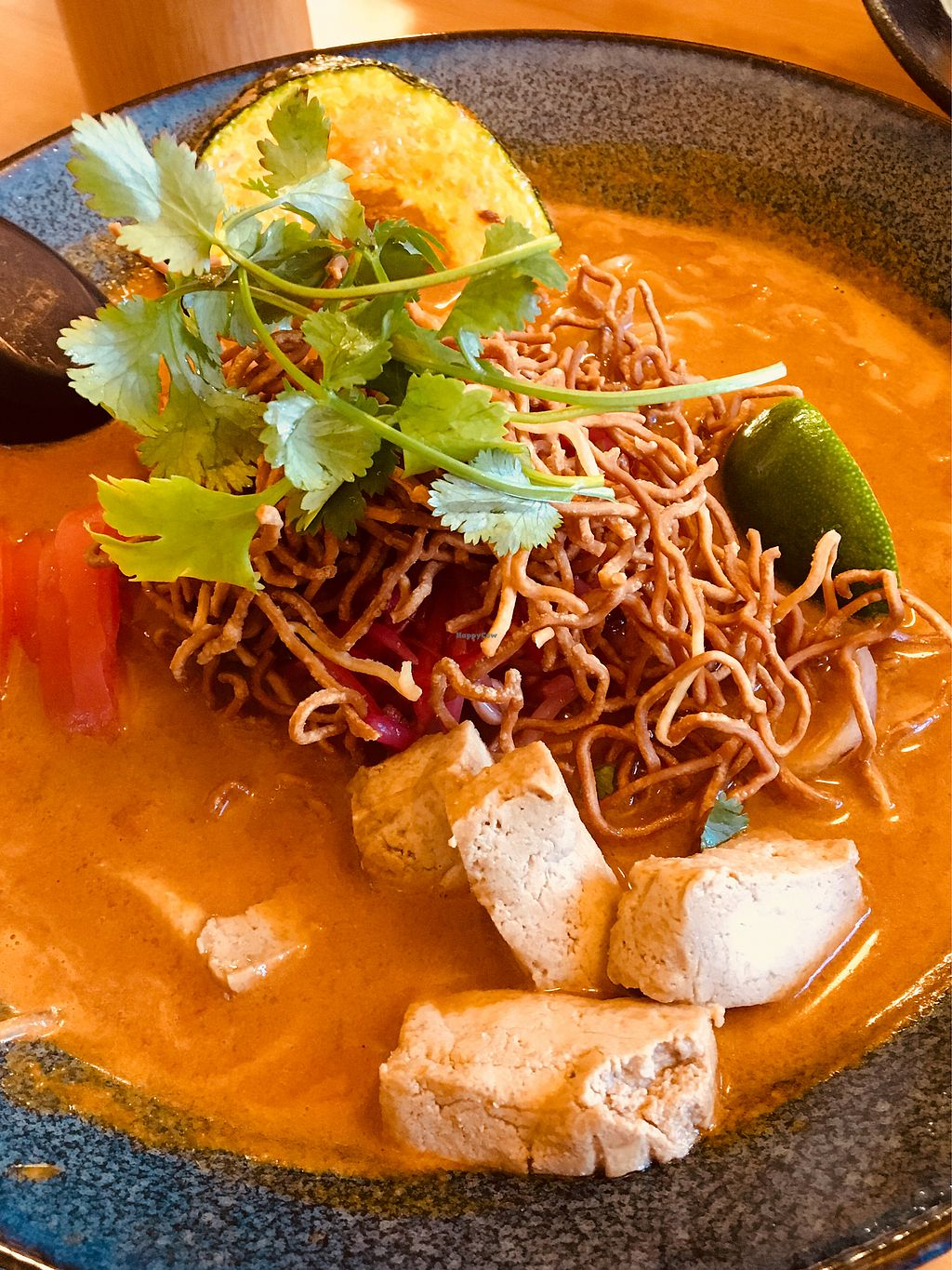 """Photo of It's Time Noodle House  by <a href=""""/members/profile/Clean%26Green"""">Clean&Green</a> <br/>Coconut Red Curry Ramen - Vegan option  <br/> April 18, 2018  - <a href='/contact/abuse/image/79153/387477'>Report</a>"""