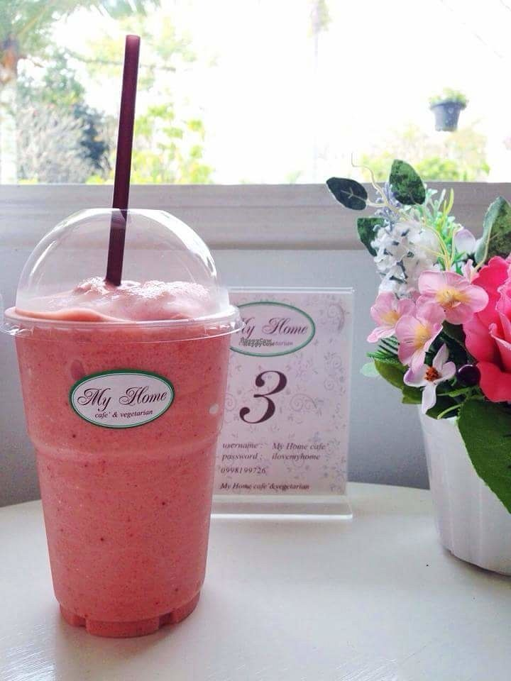 """Photo of My Home Cafe & Vegetarian  by <a href=""""/members/profile/preeda.p"""">preeda.p</a> <br/>Strawberry Smoothie <br/> October 26, 2016  - <a href='/contact/abuse/image/79170/184527'>Report</a>"""