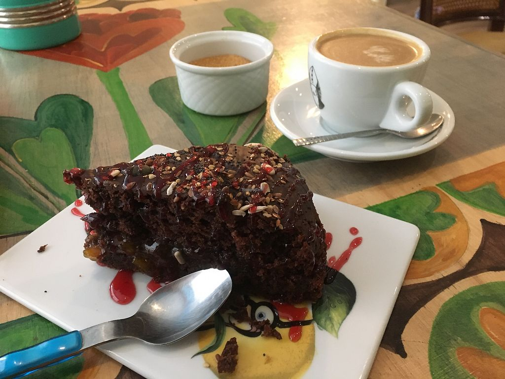"""Photo of CLOSED: Brotchen Cafe  by <a href=""""/members/profile/Vickoz"""">Vickoz</a> <br/>Vegan choc zucchini cake with strawberry jam drizzle <br/> January 14, 2018  - <a href='/contact/abuse/image/79171/346557'>Report</a>"""