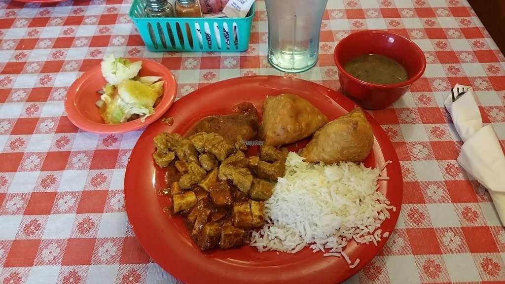 """Photo of CLOSED: Himalayan Cafe  by <a href=""""/members/profile/jarritoburrito"""">jarritoburrito</a> <br/>Curry tofu, soy chicken, aloo potatoes, lentil soup, salad, rice and samosas <br/> August 27, 2016  - <a href='/contact/abuse/image/79226/171668'>Report</a>"""