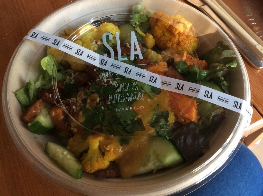 """Photo of SLA - Utrechtsestraat  by <a href=""""/members/profile/happyowl"""">happyowl</a> <br/>Indian tempeh bowl - to go <br/> October 3, 2016  - <a href='/contact/abuse/image/79233/179496'>Report</a>"""