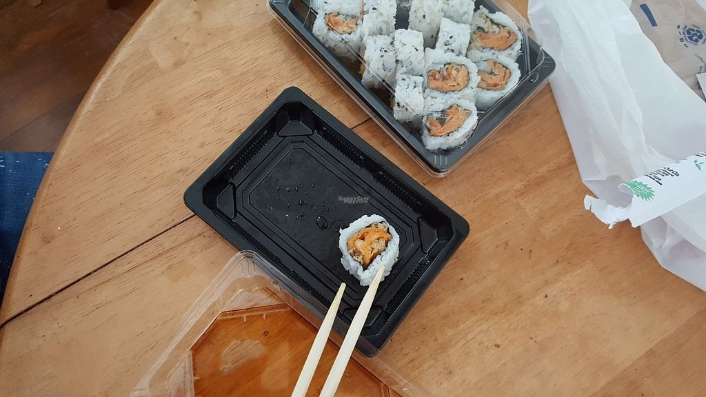 """Photo of Koizi  by <a href=""""/members/profile/debbiesmall"""">debbiesmall</a> <br/>Sweet potato sushi no eel sauce  <br/> August 26, 2016  - <a href='/contact/abuse/image/79245/171610'>Report</a>"""