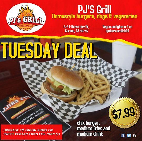 "Photo of PJ's Grill  by <a href=""/members/profile/Dkwillard"">Dkwillard</a> <br/>Vegetarian sandwich special!  Not Vegan <br/> November 11, 2017  - <a href='/contact/abuse/image/79269/324119'>Report</a>"