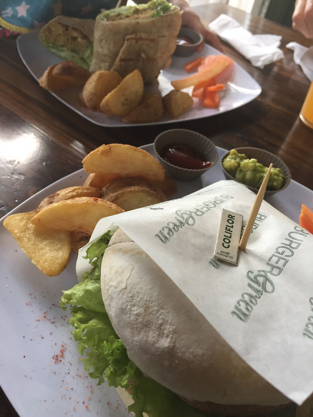 """Photo of Burger Green   by <a href=""""/members/profile/weganmama"""">weganmama</a> <br/>vegan wrap and vegan burger...... delicious !!! <br/> August 13, 2017  - <a href='/contact/abuse/image/79351/292459'>Report</a>"""