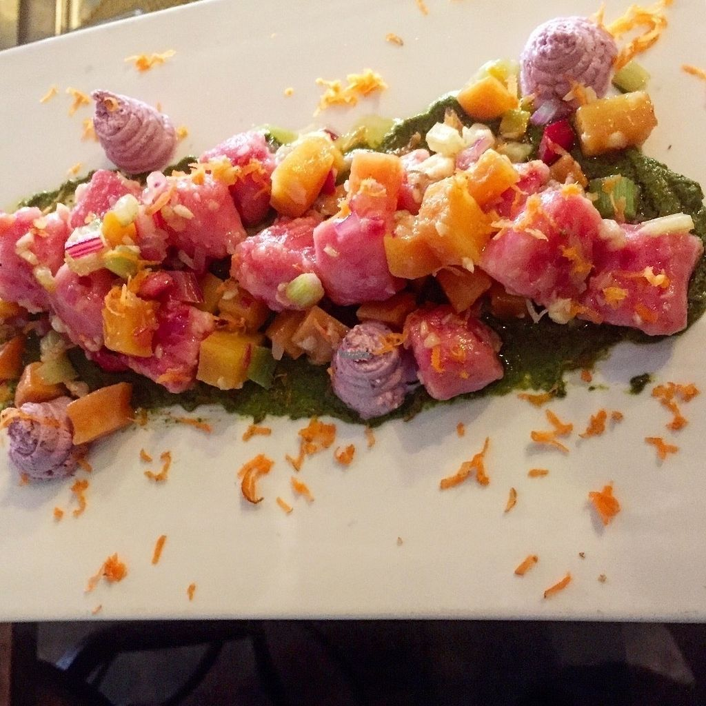 "Photo of Fork & Love at Hotel Charlotte  by <a href=""/members/profile/Fork%26Love"">Fork&Love</a> <br/>Potato Gnocchi/ pickled beets, carrot, blueberry lavender goat cheese, carrot green pesto <br/> October 2, 2016  - <a href='/contact/abuse/image/79354/179171'>Report</a>"
