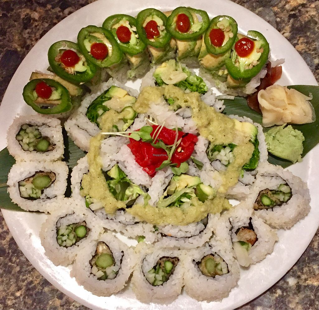 "Photo of Sushi 101 Bar & Grill  by <a href=""/members/profile/Squirrellypup"">Squirrellypup</a> <br/>Top: Garden Fire Roll   Center: Krispy Green Roll   Bottom: Asparagus Tempura Roll <br/> June 28, 2017  - <a href='/contact/abuse/image/79358/274483'>Report</a>"