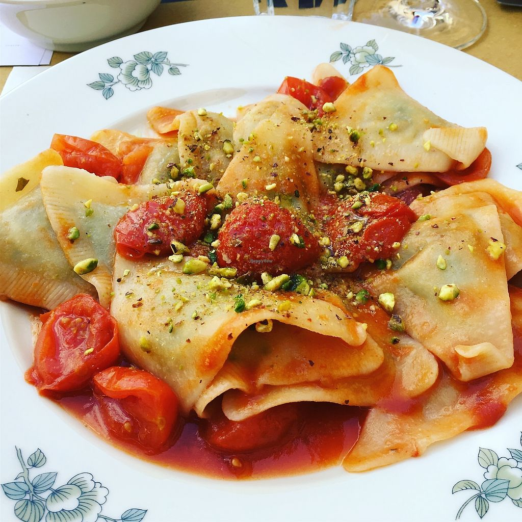 "Photo of In Pasta  by <a href=""/members/profile/denisesciubba"">denisesciubba</a> <br/>Vegan ravioli with cherry tomatoes and pistachio  <br/> April 13, 2018  - <a href='/contact/abuse/image/79384/385248'>Report</a>"