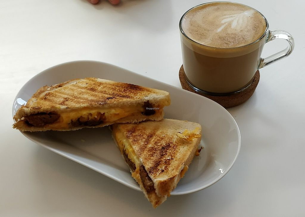 "Photo of Blanche Bakery  by <a href=""/members/profile/isabeloola"">isabeloola</a> <br/>Vegan cheese and seitan toastie and flat white <br/> January 5, 2018  - <a href='/contact/abuse/image/79393/343214'>Report</a>"