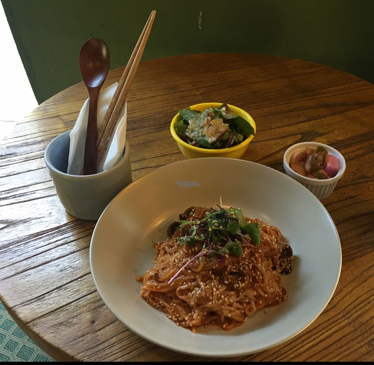 """Photo of Slunch Factory - 슬런치 팩토리  by <a href=""""/members/profile/LinnDaugherty"""">LinnDaugherty</a> <br/>mushroom rice noodle - served cold - taste spicy chili and sweet  <br/> October 10, 2016  - <a href='/contact/abuse/image/79405/180937'>Report</a>"""