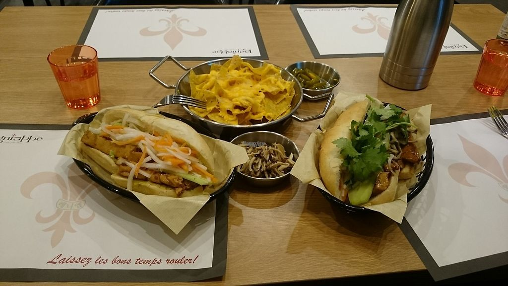 """Photo of Lagniappe  by <a href=""""/members/profile/PeterSong"""">PeterSong</a> <br/>Regular bahn mi sandwich (left), nacho with cheese (top), Buddhist vegetarian bahn mi sandwich (right), a little gift from the chef (center) <br/> November 18, 2016  - <a href='/contact/abuse/image/79417/191649'>Report</a>"""