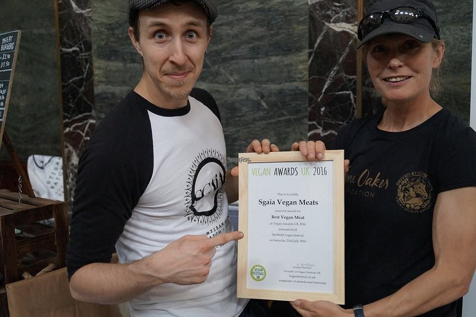 """Photo of Sgaia's Vegan Mheat  by <a href=""""/members/profile/HilaryMasin"""">HilaryMasin</a> <br/>Sgaia at Sheffield Vegan Festival, accepting the Award for Best Vegan Meat from Fiona Oakes <br/> September 3, 2016  - <a href='/contact/abuse/image/79454/173334'>Report</a>"""