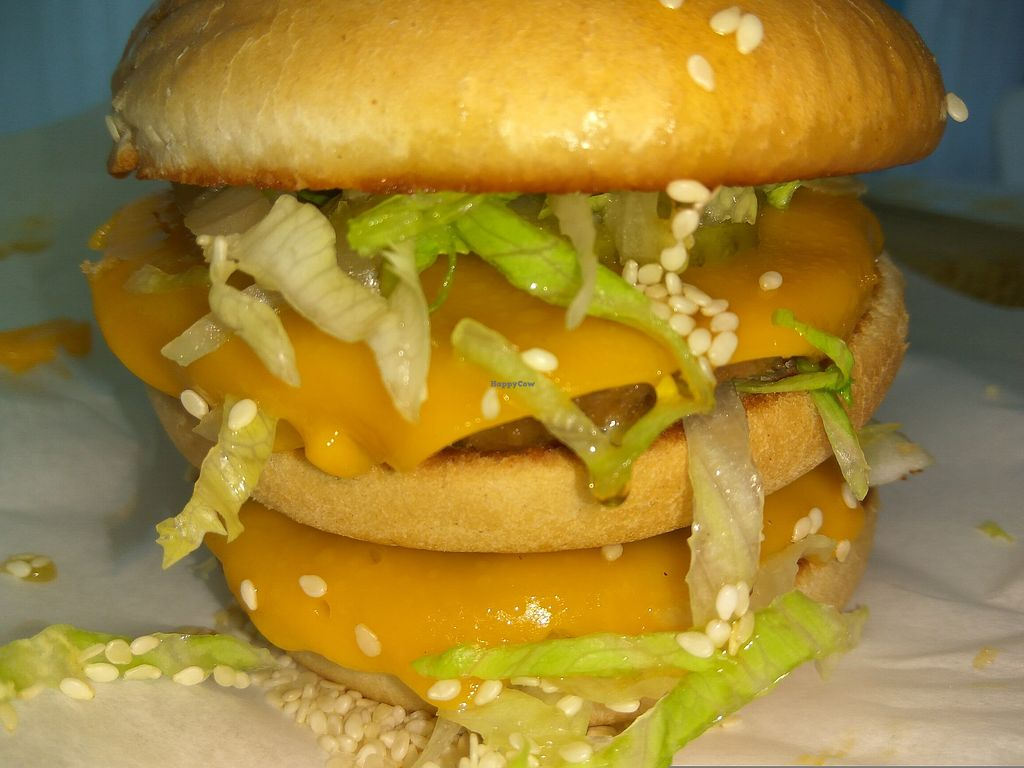"""Photo of Sgaia's Vegan Mheat  by <a href=""""/members/profile/TrixieFirecracker"""">TrixieFirecracker</a> <br/>Sgaia Mheat burgers as the patties in Mad Chef's V Mac burger <br/> August 5, 2017  - <a href='/contact/abuse/image/79454/288832'>Report</a>"""