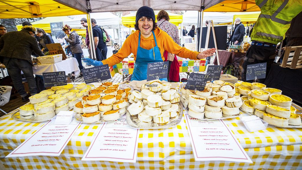 """Photo of Cool Jerk Vegan Pies  by <a href=""""/members/profile/JamoKidd"""">JamoKidd</a> <br/>Pie stall at Leith Vegan Quarter Market <br/> October 10, 2016  - <a href='/contact/abuse/image/79460/181073'>Report</a>"""
