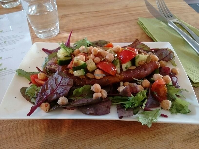 """Photo of CLOSED: Simply Nood  by <a href=""""/members/profile/craigmc"""">craigmc</a> <br/>baked sweet potato with plenty of pulses and leaf <br/> September 19, 2016  - <a href='/contact/abuse/image/79463/176801'>Report</a>"""