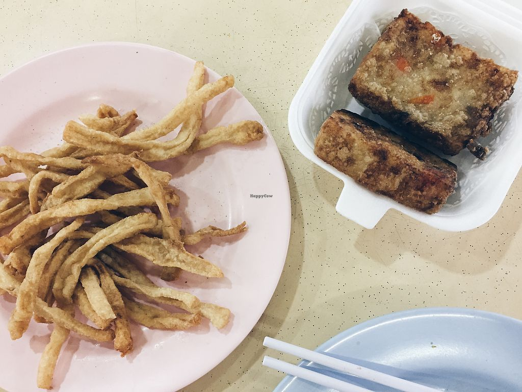 """Photo of Green Lane Vegetarian Food  by <a href=""""/members/profile/consciouscookieee"""">consciouscookieee</a> <br/>Beancurd fries & carrot cake (bad lighting paiseh > <br/> March 21, 2018  - <a href='/contact/abuse/image/79480/373619'>Report</a>"""
