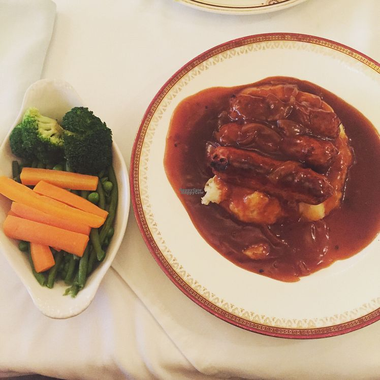 "Photo of The Westminster Tea Rooms   by <a href=""/members/profile/RosannaHutchinson"">RosannaHutchinson</a> <br/>Vegan sausage and mash  <br/> August 31, 2016  - <a href='/contact/abuse/image/79483/172751'>Report</a>"