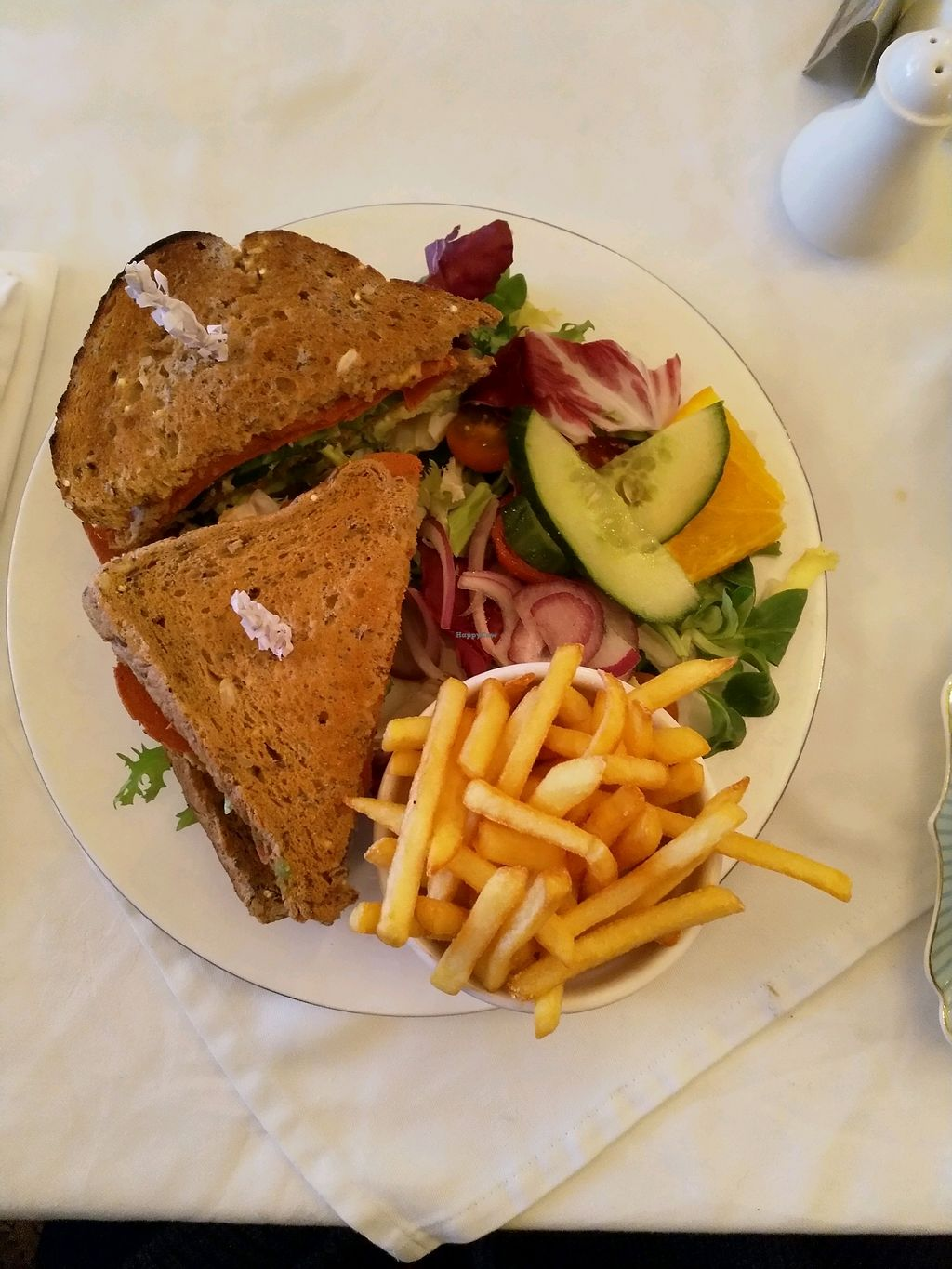 "Photo of The Westminster Tea Rooms   by <a href=""/members/profile/StarMoon"">StarMoon</a> <br/>Vegan Club Sandwich, with fresh avocado, homemade hummus and vegan bacon. Very crispy fresh fries, nom! <br/> April 5, 2018  - <a href='/contact/abuse/image/79483/380984'>Report</a>"