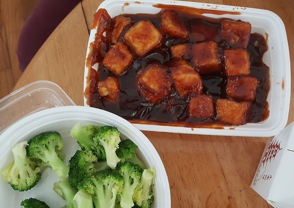 """Photo of China Wok  by <a href=""""/members/profile/debbiesmall"""">debbiesmall</a> <br/>General Tso tofu & steamed broccoli  <br/> September 8, 2016  - <a href='/contact/abuse/image/79500/197008'>Report</a>"""
