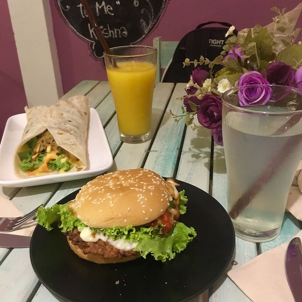 """Photo of Govinda's Restaurant  by <a href=""""/members/profile/DashaSushkevich"""">DashaSushkevich</a> <br/>Falafel wrap and soy burger <br/> December 14, 2017  - <a href='/contact/abuse/image/79507/335475'>Report</a>"""