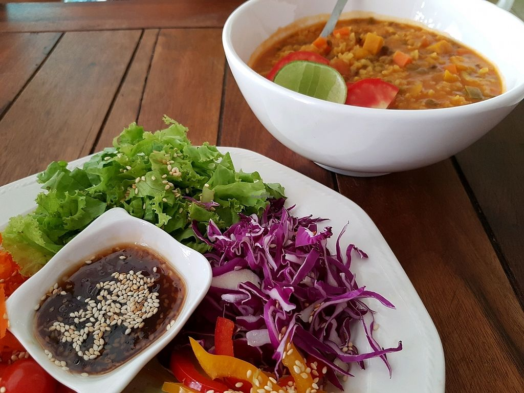 """Photo of Govinda's Restaurant  by <a href=""""/members/profile/vegatleticas"""">vegatleticas</a> <br/>Simple salad and soup <br/> March 3, 2018  - <a href='/contact/abuse/image/79507/366030'>Report</a>"""