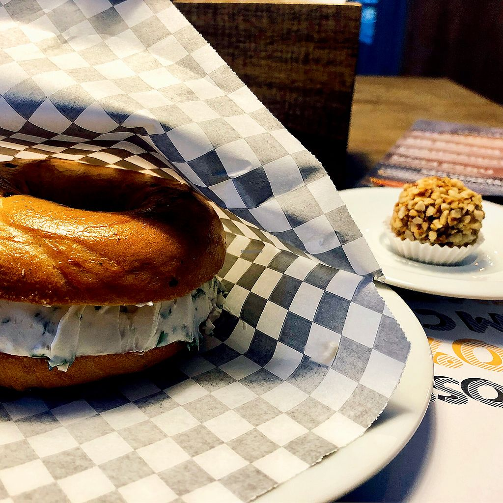 """Photo of Santo Bagel  by <a href=""""/members/profile/Vera%20Peres"""">Vera Peres</a> <br/>Bagel with tofu cream and vegan truffle <br/> January 21, 2018  - <a href='/contact/abuse/image/79523/349439'>Report</a>"""