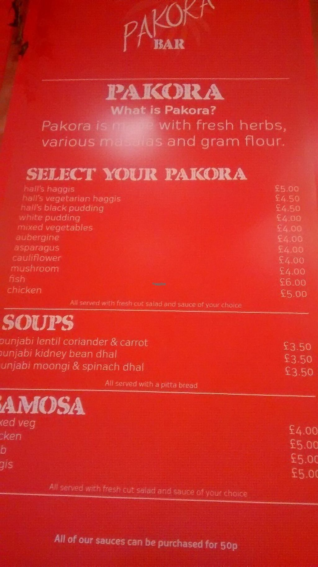 """Photo of The  Pakora Bar  by <a href=""""/members/profile/TrixieFirecracker"""">TrixieFirecracker</a> <br/>Pakora menu <br/> February 7, 2017  - <a href='/contact/abuse/image/79527/223863'>Report</a>"""