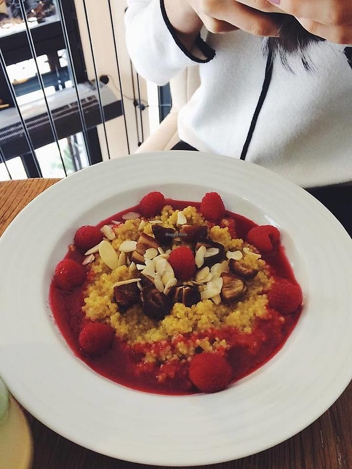 "Photo of Mondieu - Laurinska  by <a href=""/members/profile/KorneliaSochanova"">KorneliaSochanova</a> <br/>Delicious sweet meal for lunch: cous cous with maple sirup, raspberries, dried dates and almonds.