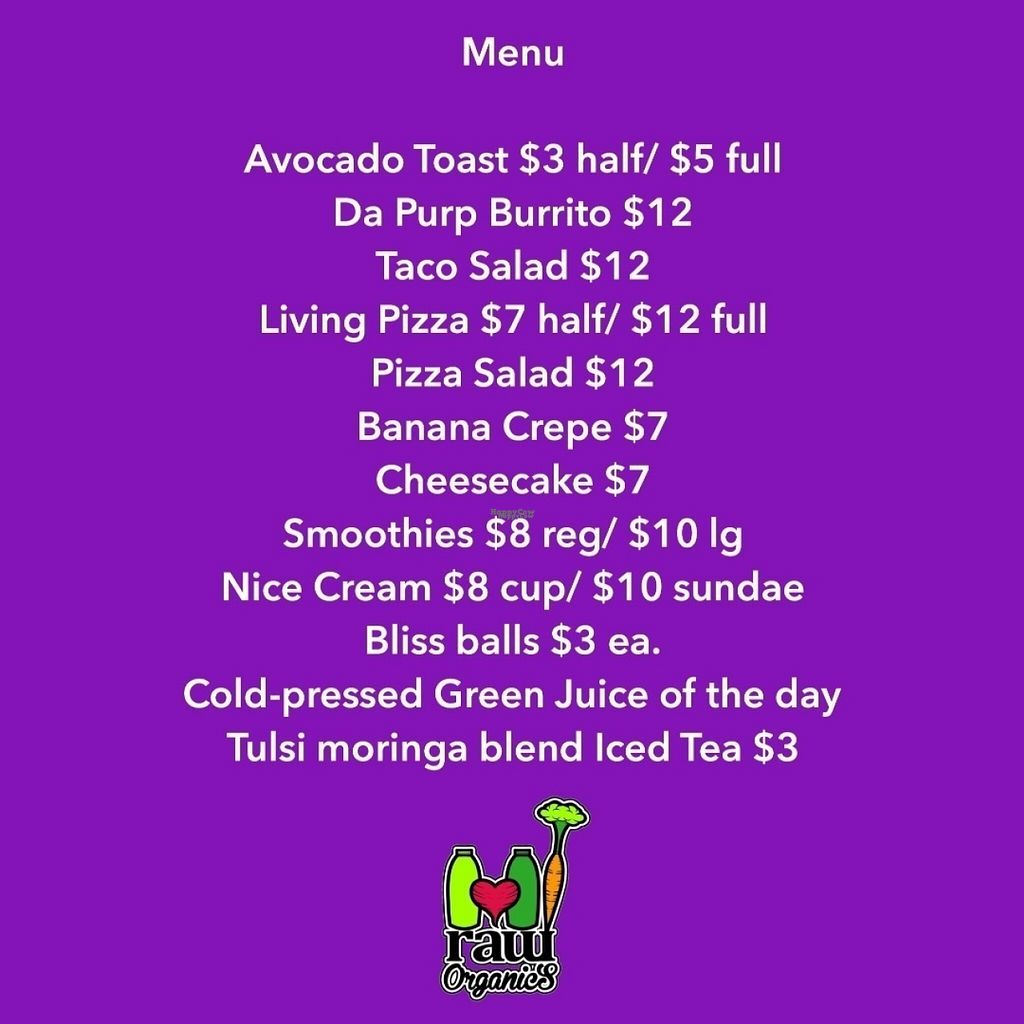 "Photo of CLOSED: HI Raw Organics - Pop-up  by <a href=""/members/profile/thejuicehustler"">thejuicehustler</a> <br/>HI Raw Organics Menu <br/> November 4, 2016  - <a href='/contact/abuse/image/79578/186582'>Report</a>"