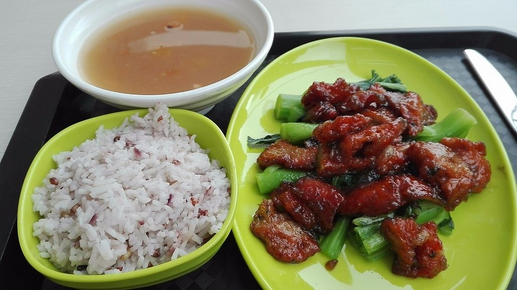 """Photo of Vegether  by <a href=""""/members/profile/Moonlover"""">Moonlover</a> <br/>Vegetable fake pork, Chinese broccoli, five grains rice, and soup <br/> December 15, 2016  - <a href='/contact/abuse/image/79601/201140'>Report</a>"""