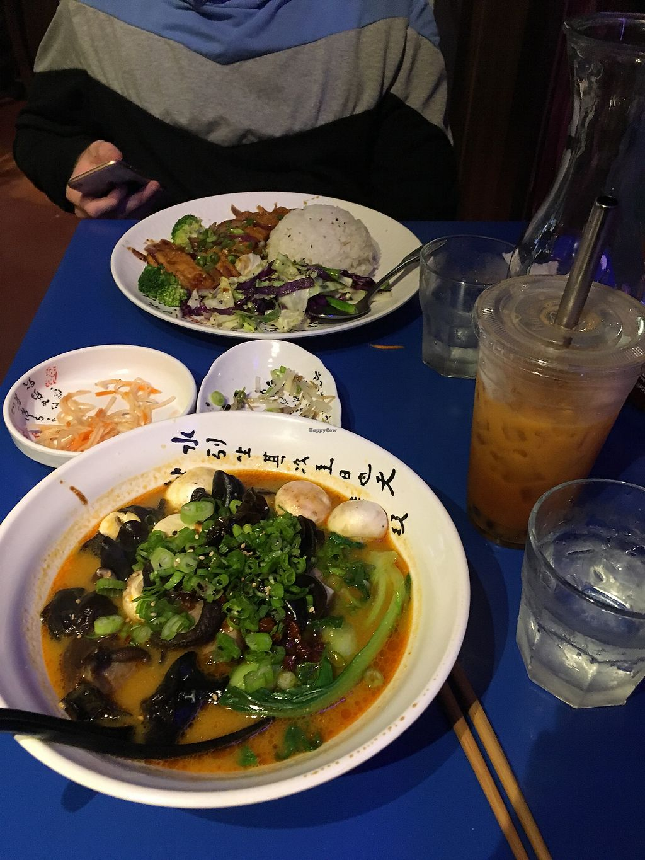 "Photo of Gokoku Vegetarian Ramen Shop  by <a href=""/members/profile/vi%27sbunbun"">vi'sbunbun</a> <br/>mushroom ramen and tofu plate with Thai tea boba  <br/> December 6, 2017  - <a href='/contact/abuse/image/79605/332761'>Report</a>"