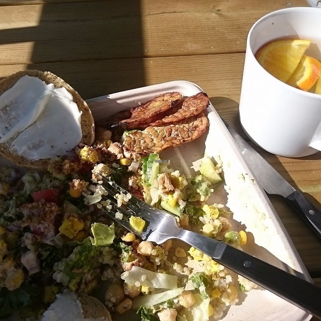"""Photo of CLOSED: Greenseed Jessheim  by <a href=""""/members/profile/Elinkatari"""">Elinkatari</a> <br/>Choose your own salad. This is featuring scrambled tofu, facon, pecan parmesan, tempeh and lots of veggis. Added entra glutenfree bread and veganaise.  Salad sprinkled with herb dressing <br/> September 4, 2016  - <a href='/contact/abuse/image/79608/173418'>Report</a>"""