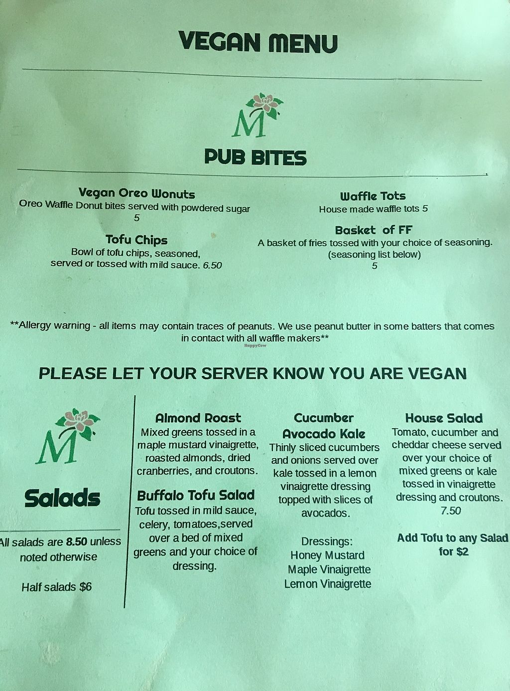 """Photo of CLOSED: Magnolia's  by <a href=""""/members/profile/myra975"""">myra975</a> <br/>Vegan Menu - Front <br/> September 9, 2017  - <a href='/contact/abuse/image/79621/302445'>Report</a>"""