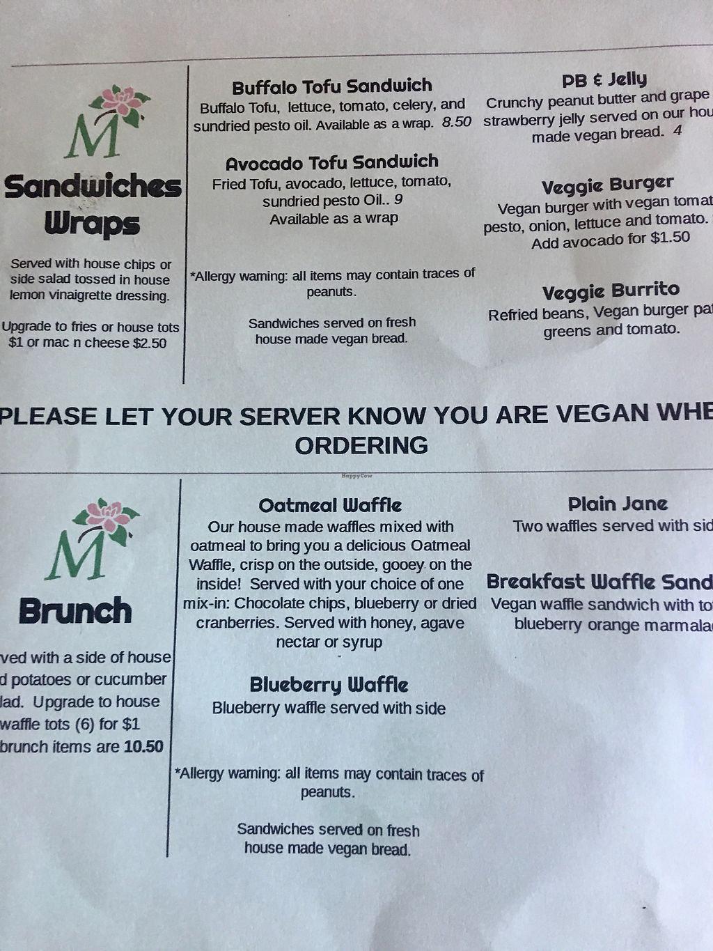 """Photo of CLOSED: Magnolia's  by <a href=""""/members/profile/myra975"""">myra975</a> <br/>Vegan Menu - Back <br/> September 9, 2017  - <a href='/contact/abuse/image/79621/302446'>Report</a>"""