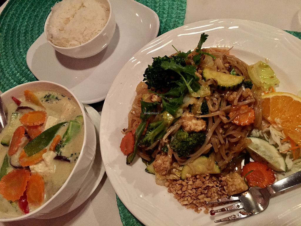 """Photo of Bunn Thai Bistro  by <a href=""""/members/profile/Deliciaanne"""">Deliciaanne</a> <br/>Vegan green curry and vegan pad Thai  <br/> October 9, 2017  - <a href='/contact/abuse/image/79650/313446'>Report</a>"""
