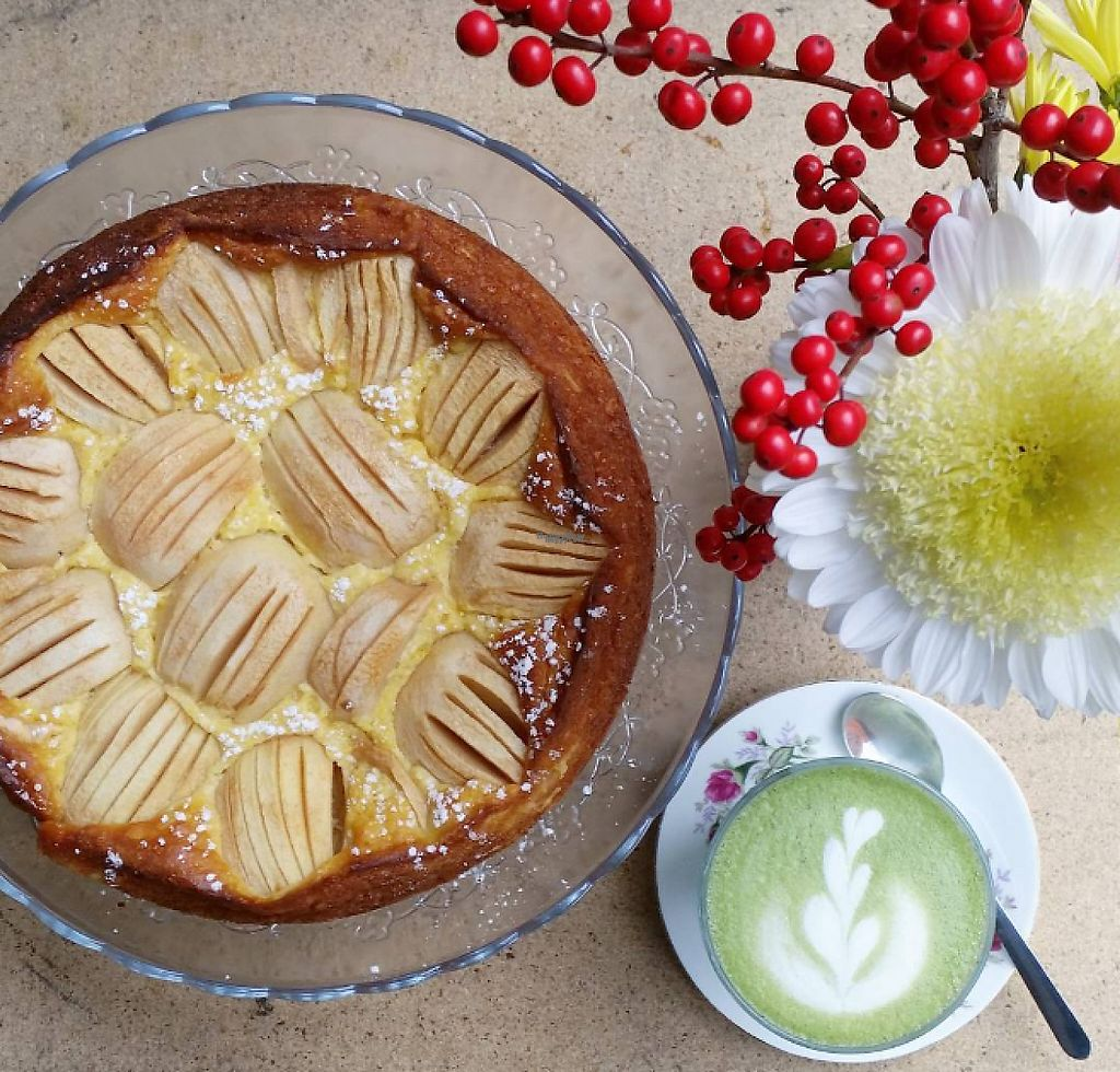"""Photo of haepinest  by <a href=""""/members/profile/community"""">community</a> <br/>Apple Cake and Matcha Latte <br/> March 9, 2017  - <a href='/contact/abuse/image/79657/234487'>Report</a>"""