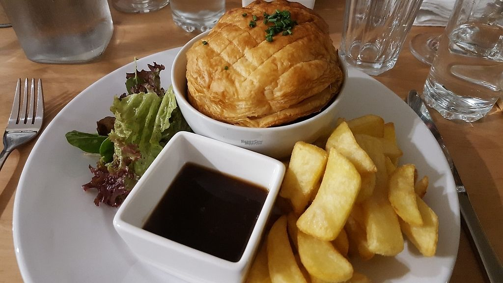 """Photo of Crazy Bean Cafe  by <a href=""""/members/profile/VeganAnnaS"""">VeganAnnaS</a> <br/>Butternut squash, leek and mushroom pie with chips <br/> January 9, 2017  - <a href='/contact/abuse/image/79668/209941'>Report</a>"""