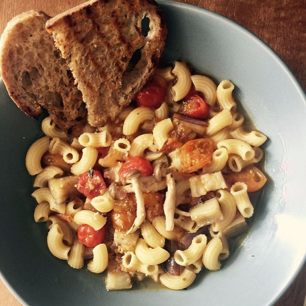"""Photo of Awakenings Coffee & Tea House  by <a href=""""/members/profile/Watermelonskin"""">Watermelonskin</a> <br/>Hearty pasta soup, with two pieces of sourdough bread <br/> May 4, 2017  - <a href='/contact/abuse/image/79685/255376'>Report</a>"""