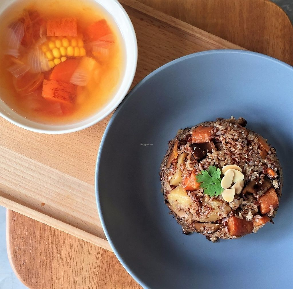 """Photo of Awakenings Coffee & Tea House  by <a href=""""/members/profile/Watermelonskin"""">Watermelonskin</a> <br/>mushroom mixed rice comes with a bowl of yummy soup <br/> May 4, 2017  - <a href='/contact/abuse/image/79685/255377'>Report</a>"""