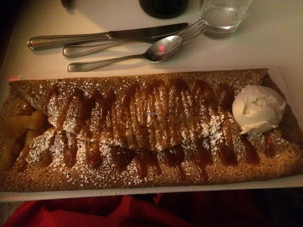 """Photo of Delice & Sarrasin  by <a href=""""/members/profile/marturey"""">marturey</a> <br/>La Bordelaise crêpes Salted Caramel, Roasted Apple, Vanilla Ice Cream.  A lovely dessert.   <br/> December 31, 2017  - <a href='/contact/abuse/image/79712/341365'>Report</a>"""