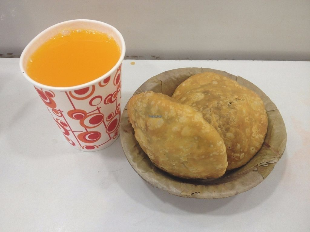 "Photo of Gauranga Snacks  by <a href=""/members/profile/vegan_ryan"">vegan_ryan</a> <br/>2 x kachori + mango soda. 40 rupees <br/> September 7, 2016  - <a href='/contact/abuse/image/79724/174040'>Report</a>"