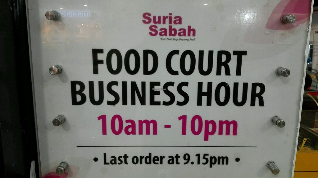 "Photo of Suria Food Court - Vegetarian Food    by <a href=""/members/profile/Miykoll"">Miykoll</a> <br/>opening hours <br/> January 14, 2018  - <a href='/contact/abuse/image/79740/346368'>Report</a>"