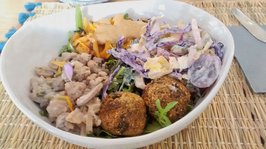 """Photo of Joy Healthyfood  by <a href=""""/members/profile/JonJon"""">JonJon</a> <br/>Lunch bowl with vegan haché, mushrooms bouchées, cabbage salad, pumpkin pasta <br/> December 8, 2016  - <a href='/contact/abuse/image/79775/198268'>Report</a>"""