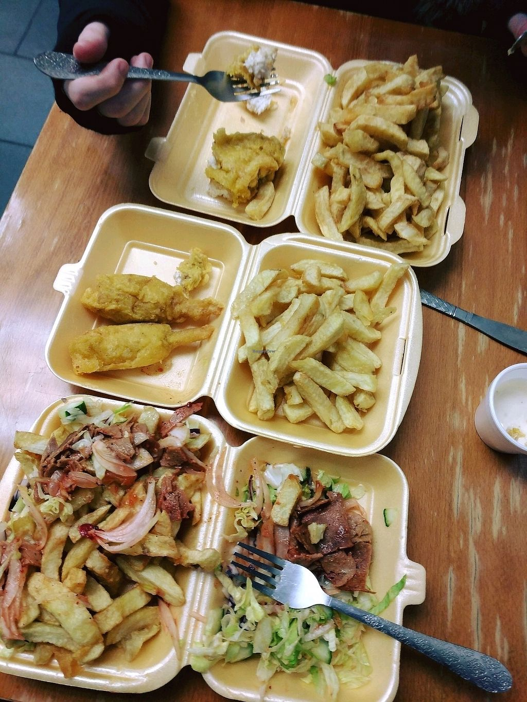 """Photo of The Veggie Chippy  by <a href=""""/members/profile/Sheina"""">Sheina</a> <br/>battered Vod and chips, 2 chicken legs and donner kebab! delicious! <br/> November 20, 2017  - <a href='/contact/abuse/image/79800/327479'>Report</a>"""