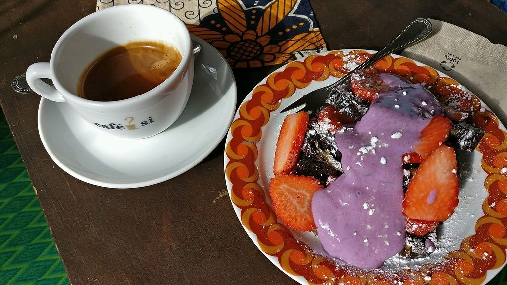 """Photo of AtayaCaffe  by <a href=""""/members/profile/MassiB"""">MassiB</a> <br/>coffee and Vegan choco banana cake! <br/> March 9, 2018  - <a href='/contact/abuse/image/79815/368475'>Report</a>"""