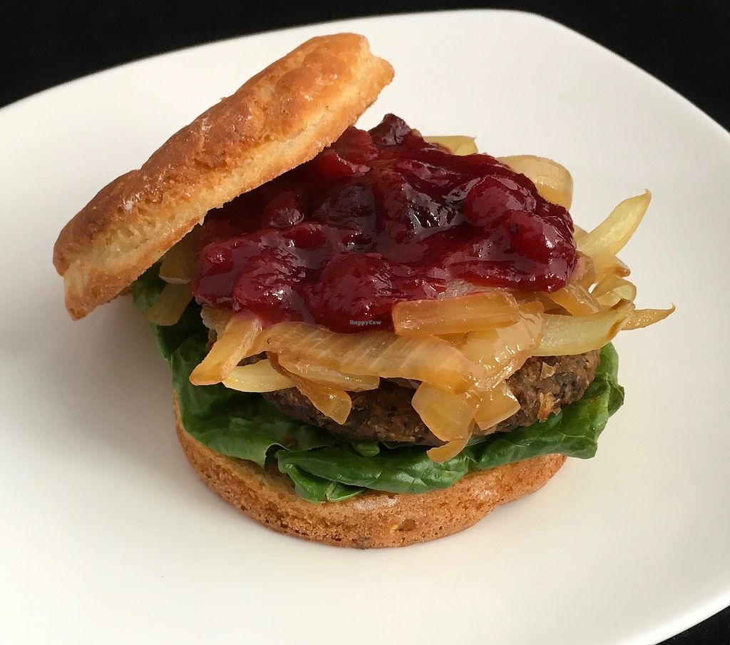 "Photo of The PUREGANIC Cafe  by <a href=""/members/profile/Clean"">Clean</a> <br/>Vegan ""Turkey Burger"" on homemade gluten free bun. Really, really good and filling <br/> July 27, 2017  - <a href='/contact/abuse/image/79859/285663'>Report</a>"