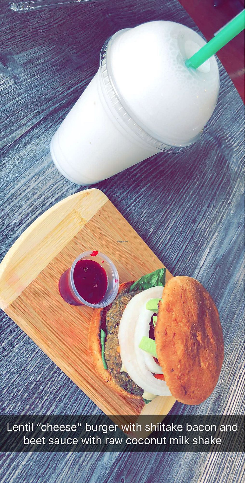 "Photo of The PUREGANIC Cafe  by <a href=""/members/profile/mxjayy"">mxjayy</a> <br/>Lentil cheese burger with shiitake bacon and coconut shake  <br/> January 31, 2018  - <a href='/contact/abuse/image/79859/353157'>Report</a>"